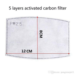 2020 New 5 layers Activated carbon filter PM2.5 Anti Haze mouth Masks replaceable filters for Activate Carbon Mask filters