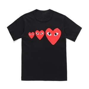 2019 New Fashion CDG Play Tshirts Japanese Red New Three Hearts COMMES 19 Limited Cotton Short-sleeved T-shirt Des GARCONS PLAY Men Women