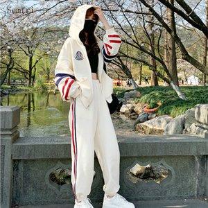 Semfri de dos piezas de chándal con capucha de las mujeres 2020 Primavera Otoño juego de los deportes femeninos flojos rayas estilo de ropa juego de piezas 2
