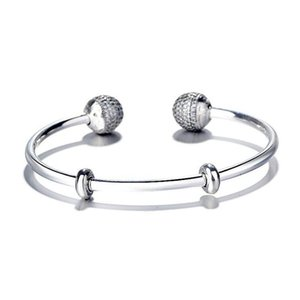 Original 925 Sterling Silver Moments Open Bangle Pave Caps With Cubic Zirconia Bracelet Fit Bead Charm Fashion Jewelry