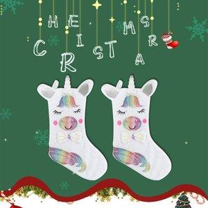 LED Unicorn Christmas Stocking Christmas Decoration Large Gift Bag Candy Bag Large LED Light Christmas Sock Gift Bag Free Shipping