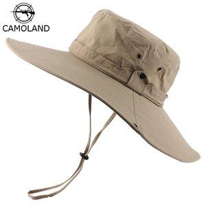 CAMOLAND Waterproof Bucket Hat For Men Summer UPF50+ Sun Hat Women Wide Brim Panama Beach Hats Outdoor Hiking Fishing Boonie Cap T200720