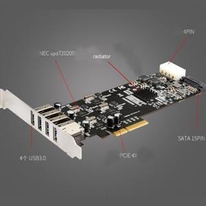 IOCREST PCIe 3.0 x4 à 4 ports USB3.2 Gen1 Gen2 type A vitesse du port d'indépendance jusqu'à 5 Gbps 10Gbps extension hôte carte contrôleur