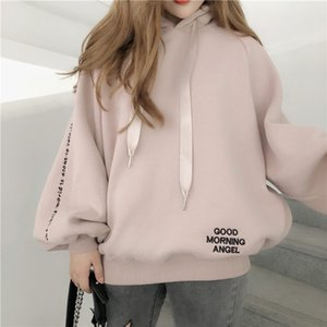 ins Super fire coat 2019 season women's velvet mourning Hoodie sweater sweater clothes long sleeve Korean loose hoodie