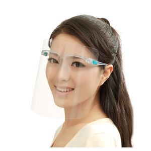 Face Shield With Glasses Frame Anti-fog Isolation Protective Face Mask 360 Degree Protection Anti-Splash Anti-Oil Reusable Face Mask 10sets