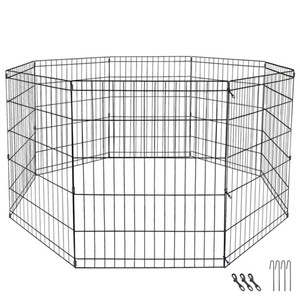"24"" Dog Playpen Crate 8 Panel Fence Pet Play Pen Exercise Puppy Kennel Cage Yard"