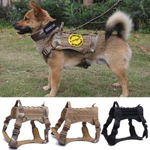 Tactique de chien Harnais de travail K9 collier de chien Gilet avec poignée Dog Leash plomb formation pour MOYENNES grands chiens berger allemand CX200725