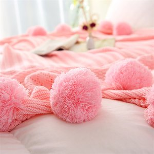 Nordic Simple Solid Color Knitted Blanket Sofa Blanket Photographic Prop Decorative Pom-Pom Throw Knit