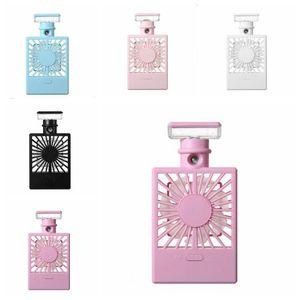 Perfume garrafa de spray Fan carregamento USB Cooling Fan Night Light USB Umidificador Fãs Verão Serviço de Viagens portátil viagem acessórios DHA307