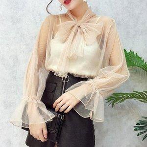 Missoov kadın gömlek tasarımcı marka sonbahar moda blusas bayanlar blusa siyah pembe vetement yeni URUU # femme başında yay bluz örgü seksi