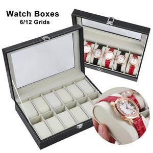 6/12 Grids Assista Display Case Titular Jóias Colecção de armazenamento Organizer Leather Dustproof Relógio caixas With Lock