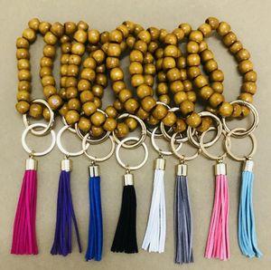 여성 나무 열쇠 고리 팔찌를위한 체인 | 개인 나무 구슬 열쇠 고리 | 나무 모노그램 선물 | 사용자 정의 모노그램 키