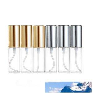 Mini feine Nebel Klar 5ml 1 / 6OZ Atomizer Glasflasche Spray nachfüllbaren Duft Parfüm Leer Scent Bottle W / Aluminium-Sprayer Gold / Silber