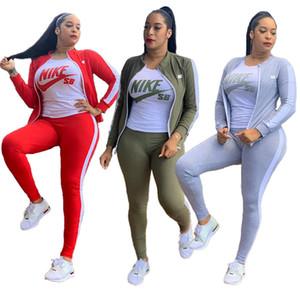 De plus les femmes de taille 2XL tombent costume concepteur hiver jogger survêtements de marque manteau veste à manches longues + pantalon deux pièces Ens casual sportswear 3587