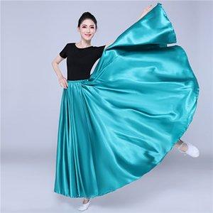 360 Degree Satin Skirt Belly Dance Mulheres Gypsy saias longas Dancer Prática Wear 15color Assorted Solid Gold roxo Saia Dança