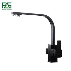 FLG Black Square kitchen Faucet for kitchen Brass 360 Degree Rotation Faucets Filter Water Mixer Tap Crane For Kitchen 573-33B T200424