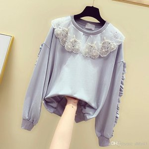 Doll Collar Sweatshirt for Woman 2020 Autumn New Beads Loose Leisure Pull Coat Girls Students Long Sleeve Pullovers Hoodies