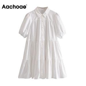 Aachoae Casual Branco Mini vestido Mulheres Lantern manga curta Feminino vestido plissado Turn Down Collar Plus Size Ladies Vestidos Robe