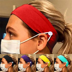 Face Mask headband holder New Arrival Sports Knitted Headbands With Button Ear Savers Headband For Face cover HN488
