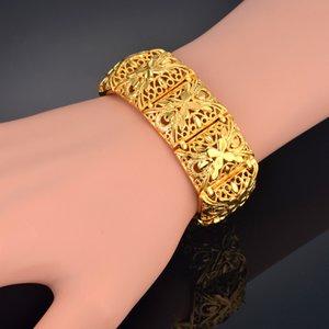 Wide Bracelet 22mm Gold Color Chain Link Chunky Bracelets & Bangles for Women Vintage Jewelry Flower Big Bracelet