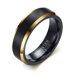 2020 New Fashion Tungsten Carbide Wedding Bands 6mm Gold Line Ring Black Matte Finished Male Engagement Male Jewelry