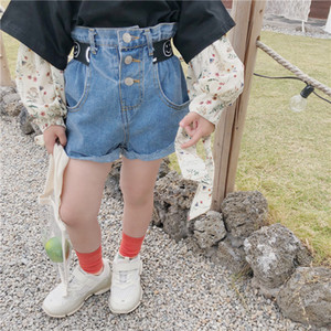 Fashion kids denim shorts girls smile belt short jeans children single-breasted elastic high waist casual cowboy shorts A3514