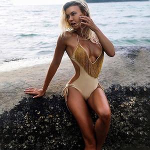 2020 Sexy Tassel One Piece Swimwear Bandage Bathing Suit Bodysuit Beach Wear Women High Cut Swimsuit Solid Push Up Monokini T200708