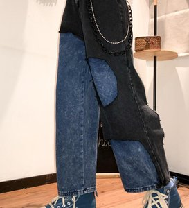 힙합 넓은 다리 청바지 블루 블랙 패치 워크 통바지 청바지 한국 워시 구멍 데님 바지 여성 패션 캐주얼