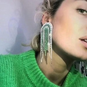 2020 New Women Fashion Full Acrylic Crystal Beads Tassel Dangle Earrings Jewelry Accessories Big Statement Earrings Accessories