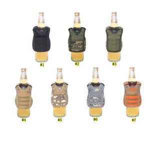 Beverage Koozie Vest Military Molle Mini Beer Cover Vest Cooler Sleeve Adjustable Shoulder Straps Beer Cover Bar Party Decoration KHA324