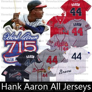 Throwback Hank Aaron Jersey 715 Home Run 25. Patch-1963 Zipper Trikots 1974 Retro Jersey Pullover Beige, Grau, Weiß