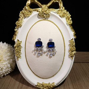 Fashion trend high Blue Diamond Earrings Prom Party superior quality Celebrity Earrings Free shipping Silver needle anti