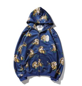 European and American tide brand shark head tiger head pattern hooded zipper sweater casual jacket men and women couples the same paragraph