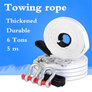 6 Tons 5 Meter Towing Rope Tow Cable Van Pulling Rope Towing Pull Strap Hooks SUV Off-road Vehicle Road Recovery