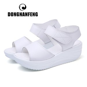 DONGNANFENG Women's Mother Ladies Female Genuine Leather Shoes Sandals Woman Platform Hook Loop Casual Summer Cool Beach AM-9018 Y200620
