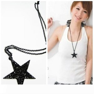 Fashion Jewelry Black Pentagon Five-pointed Star Pendant Necklace For Women Hip Hop Punk Long Sweater Necklace