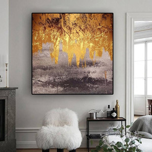 Black Gold Yellow Leaves Abstract Oil Painting on Canvas Nordic Plant Poste Prints Wall Art Pictures for Living Room Modern Home Decoration