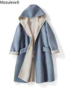 Mozuleva Winter New Elegant Women's Two-Tone Double-Faced Woolen Mid-Length Wool Overcoat Hooded Dark Buckle Woolen Coat Women