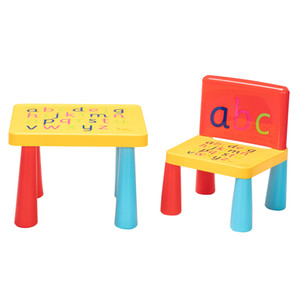 Plastic Children's Tables and Chairswith Mushroom Leg Letters and Early Childhood Education Tables and Chairs Red & Yellow & Blue