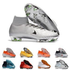 Zapatos para hombre de plata FG Cleats Superfly Elite Neymar alta del tobillo fútbol al aire Ronaldo CR7 Mercurial fútbol Crampones Botas para D0802 masculino