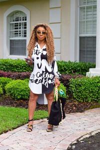 Yeni Tasarımcı Harf Baskılı Standı Yaka V Yaka Elbise Günlük Bayan Bluz Elbise Tasarımcı Uzun Kollu Elbiseler