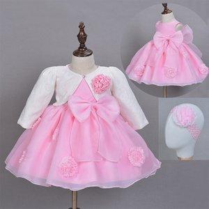 3pcs Set Baby Girl Baptême robe Pageant princesse mariage Robes de baptême enfants Frocks robe avec tête de bande Veste Châle CX200803