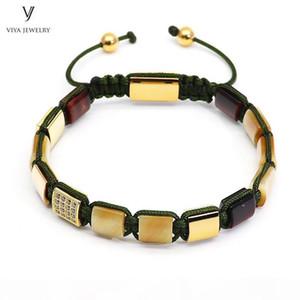 H Luxury Gold -Color Men Bracelet Golden Tiger Eyes Square Beads &Pave Setting Beads Braided Macrame Bracelet Jewelry For Men Gift