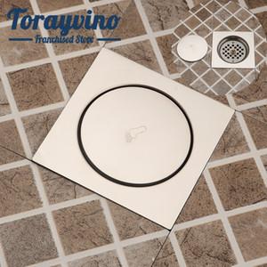 Torayvino aço inoxidável banheiro piso dreno banho de rolha de níquel escovado ralo do chuveiro Fácil de pés limpos drenar Acessórios T200715