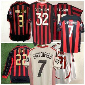 Long Sleeve 93 94 Retro camisas casa 96 97 Gullit SOCCER JERSEY 02 03 Maldini BAGGIO Van Basten futebol RONALDO KAKA Inzaghi 06 07 AC MILAN
