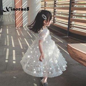 Big Girls Summer White Dress Kids Short Sleeve Sequins Party Princess Dress for Girls Toddler Girls Dresses Kids Clothes 8 10 12 T200709