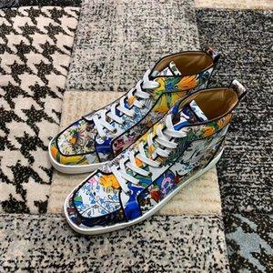 Ünlü Marka Tasarımcı Günlük Ayakkabılar Yüksek Üst Baskı Boya Deri Pik Pik Çok renkli daire Erkek ve Kadın Tasarımcı Sneakers Ayakkabı