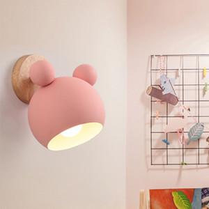Background LED Wall Lamp E27 Macaron Wall Lights Crianças leitura de cabeceira jogo em casa Quarto Madeira Sconces