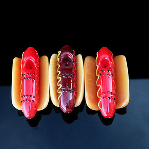 """hot dog glass tobacco pipe 4.5""""inch glass hand pipe emulational pipes spoon pipe smoking"""