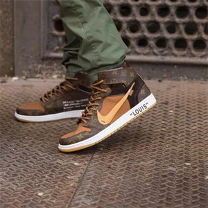 Off Whte x Luis Vutton x Zapatos de baloncesto Chicago UNC Nke Aire Jordn 1 Diseñadores retro zapatillas de deporte de las mujeres de los hombres de Moto Deportes ShoesDGH15